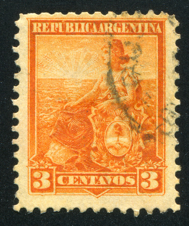 allegory: ARGENTINA - CIRCA 1895: stamp printed by Argentina, shows Allegory, Liberty Seated, circa 1895
