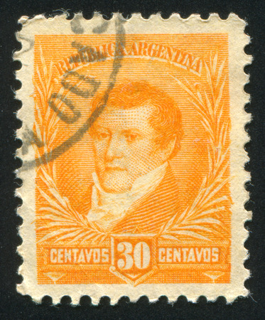 economist: ARGENTINA - CIRCA 1920: stamp printed by Argentina, shows  Manuel Belgrano, economist, lawyer, politician, and military leader, circa 1920 Editorial