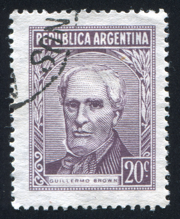 admiral: ARGENTINA - CIRCA 1965: stamp printed by Argentina, shows Admiral Guillermo Brown, circa 1965 Editorial
