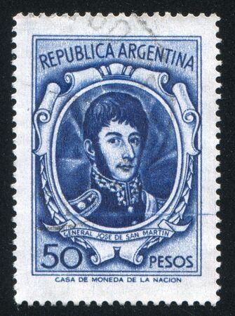 jose de san martin: ARGENTINA - CIRCA 1965: stamp printed by Argentina, shows General Jose de San Martin, circa 1965