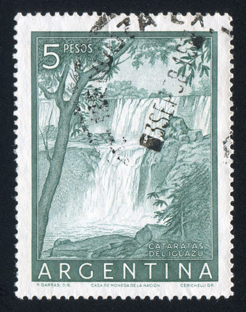 waterfall: ARGENTINA - CIRCA 1965: stamp printed by Argentina, shows waterfall, circa 1965 Editorial