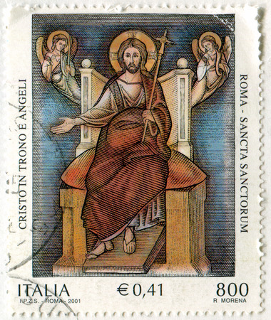 enthroned: ITALY - CIRCA 2001: stamp printed by Italy, shows Enthroned Christ and Angels, Sancta Sanctorum, St. John Lateran Basilica, circa 2001