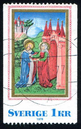 SWEDEN - CIRCA 1976: stamp printed by Sweden, shows Virgin Mary Visiting St Elizabeth, circa 1976