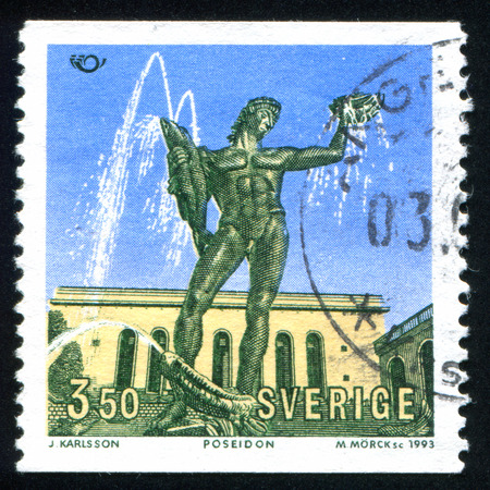 carl: SWEDEN - CIRCA 1993: stamp printed by Sweden, shows Fountain of Poseidon, by Carl Milles, circa 1993 Editorial