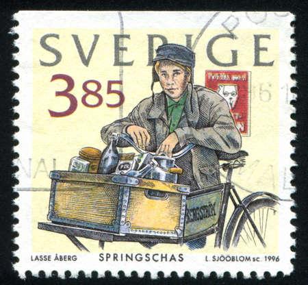 errand: SWEDEN - CIRCA 1996: stamp printed by Sweden, shows Errand boy, circa 1996