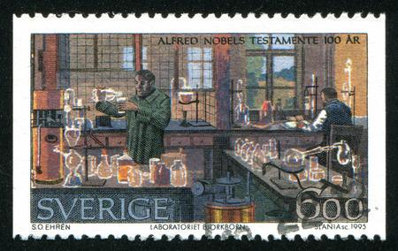 education in sweden: SWEDEN - CIRCA 1995: stamp printed by Sweden, shows Bjorkborn Laboratory, Karlkoga, circa 1995 Editorial