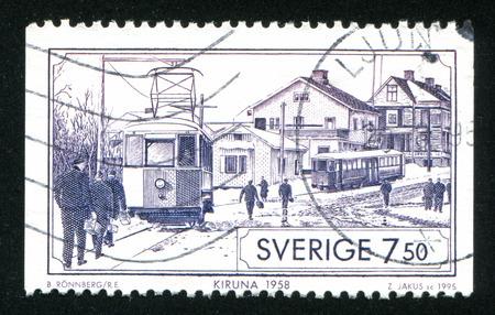 kiruna: SWEDEN - CIRCA 1995: stamp printed by Sweden, shows Kiruna tram, circa 1995