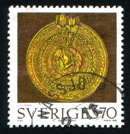 artifacts: SWEDEN - CIRCA 1995: stamp printed by Sweden, shows Ancient Artifacts, circa 1995