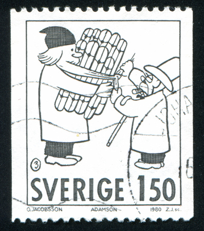 SWEDEN - CIRCA 1980: stamp printed by Sweden, shows Comic Strip Characters, Adamson, circa 1980