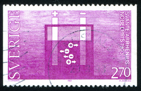 isotope: SWEDEN - CIRCA 1983: stamp printed by Sweden, shows Radioactive isotope tracers vante Arrhenius, circa 1983