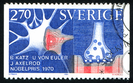 SWEDEN - CIRCA 1984: stamp printed by Sweden, shows Nobel Prize Winners in Physiology or Medicine, Julius Axelrod, Bernard Katz & Ulfvon Euler, 1970, nerve cell storage and release, circa 1984