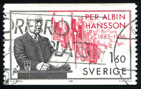 prime adult: SWEDEN - CIRCA 1985: stamp printed by Sweden, shows Prime Minister Per Albin Hansson, circa 1985