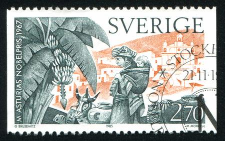 laureates: SWEDEN - CIRCA 1985: stamp printed by Sweden, shows Nobel Laureates in Literature, Miguel Angel Asturias, (1899-1974), 1967, Guatemala, circa 1985