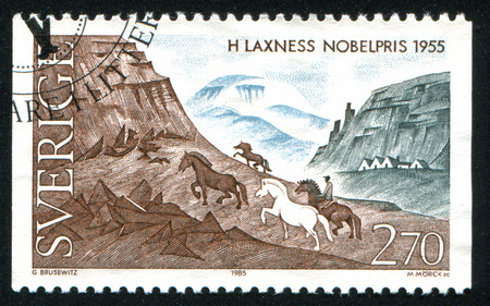 laureates: SWEDEN - CIRCA 1985: stamp printed by Sweden, shows Nobel Laureates in Literature Iceland, circa 1985