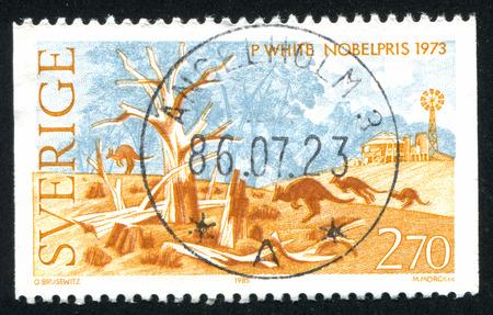 laureates: SWEDEN - CIRCA 1985: stamp printed by Sweden, shows Nobel Laureates in Literature, Australia, circa 1985 Editorial