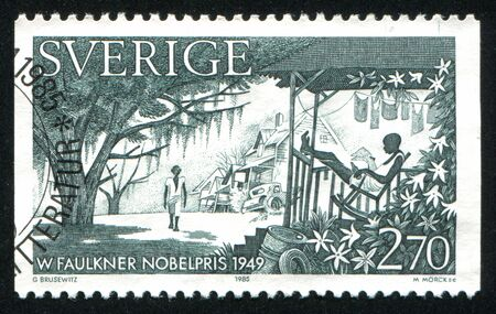 laureates: SWEDEN - CIRCA 1985: stamp printed by Sweden, shows Nobel Laureates in Literature, Southern United States, circa 1985