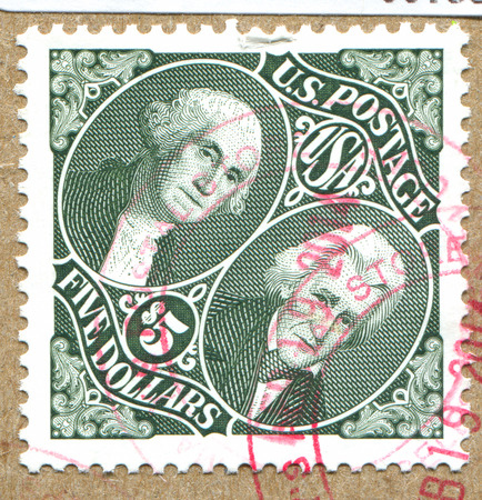 andrew: UNITED STATES - CIRCA 2009: stamp printed by United States, shows George Washington and Andrew Jackson, circa 2009