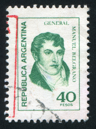 economist: ARGENTINA - CIRCA 1970: stamp printed by Argentina, shows  Manuel Belgrano, economist, lawyer, politician, and military leader, circa 1970 Editorial