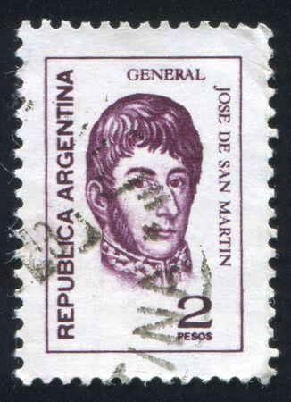 jose de san martin: ARGENTINA - CIRCA 1975: stamp printed by Argentina, shows General Jose de San Martin, circa 1975 Editorial