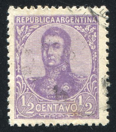 jose de san martin: ARGENTINA - CIRCA 1908: stamp printed by Argentina, shows General Jose de San Martin, circa 1908