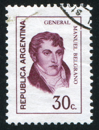 manuel: ARGENTINA - CIRCA 1970: stamp printed by Argentina, shows  Manuel Belgrano, economist, lawyer, politician, and military leader, circa 1970 Editorial