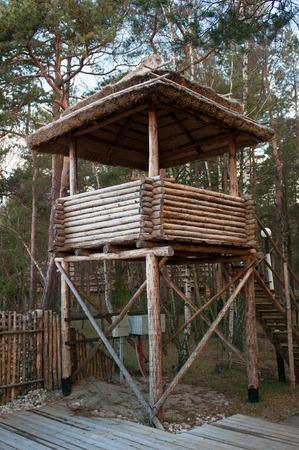 observation: Wooden observation tower in the forest. Spring season. National Park.