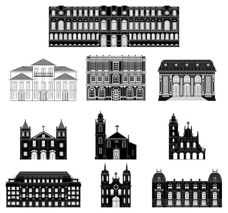 Old buildings. Ancient architecture in black on a white background. Vector illustration.