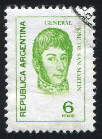 jose: ARGENTINA - CIRCA 1975: stamp printed by Argentina, shows General Jose de San Martin, circa 1975 Editorial
