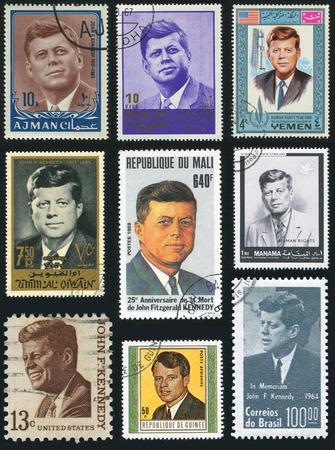 postage stamps: AJMAN, BRAZIL, GUINEA, MANAMA, SOUTH ARABIA, UNITED STATES, YEMEN - CIRCA 1963-1988: stamp printed by Ajman, Brazil, Guinea, Manama, South Arabia, United States, Yemen, shows a set of postage stamps with the image of the president John F. Kennedy, circa 1