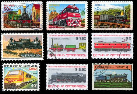 postage stamps: AUSTRALIA, AUSTRIA, BURKINA FASO, CUBA - CIRCA 1977-2004: stamp printed by Australia, Austria, Burkina Faso, Cuba, shows a set of postage stamps with the image of the locomotive, circa 1977-2004.