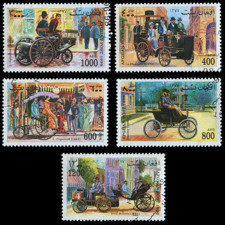 postage stamps: AFGHANISTAN - CIRCA 1998: stamp printed by Afghanistan, shows a set of postage stamps with the image of the retro car, circa 1998. Editorial