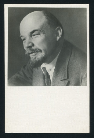 lenin: RUSSIA - CIRCA 1963: post card printed by Russia USSR, shows soviet revolutionary and politician Vladimir Lenin, Vladimir Lenin. Moscow, November 28, 1921 still from a film, circa 1963