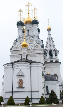 late fall: Russian Orthodox Church in the Kaliningrad region. Religious sites. Late fall. Stock Photo