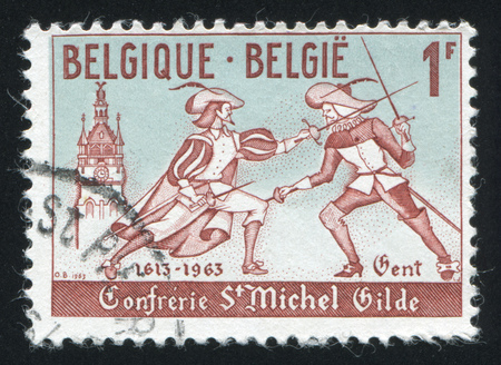 fencers: RUSSIA KALININGRAD, 18 OCTOBER 2015: stamp printed by Belgium, shows Modern fencers, circa 1963