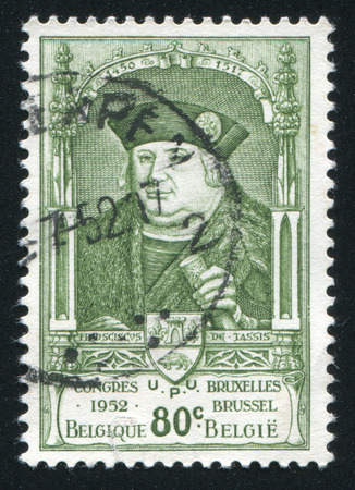 nobleman: RUSSIA KALININGRAD, 26 OCTOBER 2015: stamp printed by Belgium, shows Francois de Tassis, circa 1952
