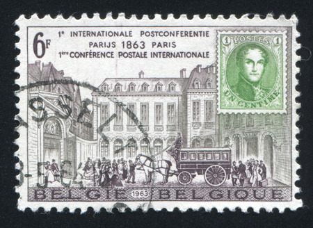postes: BELGIUM - CIRCA 1963: stamp printed by Belgium, shows Hotel des Postes, Paris, circa 1963 Editorial