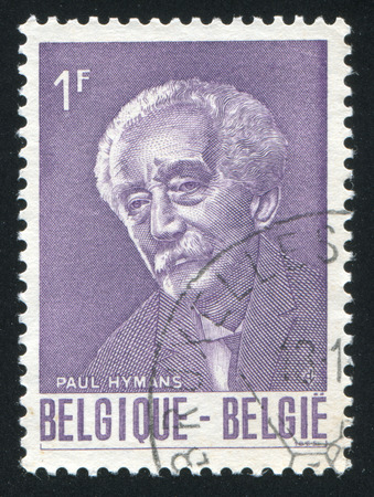 first nations: BELGIUM - CIRCA 1965: stamp printed by Belgium, shows Paul Hymans, Belgian Foreign Minister, First President of the League of  Nations, circa 1965