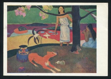 tahitian: RUSSIA - CIRCA 1969: post card printed by Russia, shows Paul Gauguin Tahitian Pastoral Scenes, circa 1969.