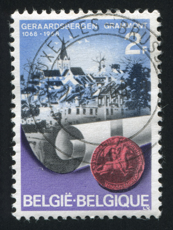 baudouin: BELGIUM - CIRCA 1968: stamp printed by Belgium, shows View of  Grammont and Seal of  Baudouin VI, circa 1968