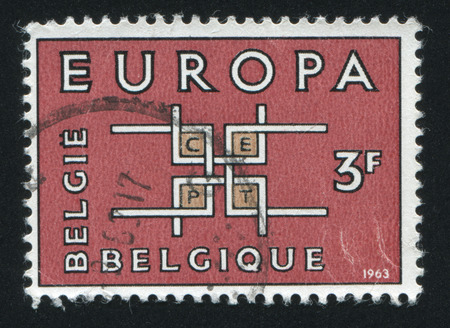 poststempel: BELGIEN - CIRCA 1963: Stempel von Belgien gedruckt, zeigt Emblem Europa, circa 1963 Editorial