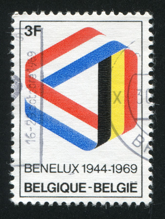 benelux: RUSSIA KALININGRAD, 26 OCTOBER 2015: stamp printed by Belgium, shows Ribbon in Benelux Colors, circa 1969