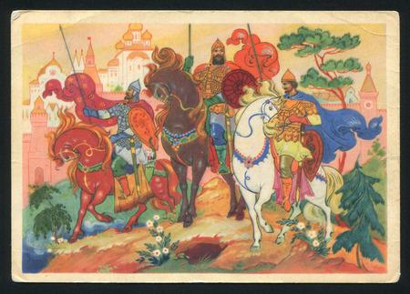 folk tales: RUSSIA - CIRCA 1964: postcard printed by Russia (USSR), shows Palekh miniature, Artist Bokarev, circa 1964