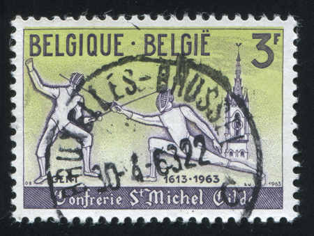 fencers: BELGIUM - CIRCA 1963: stamp printed by Belgium, shows Modern fencers, circa 1963