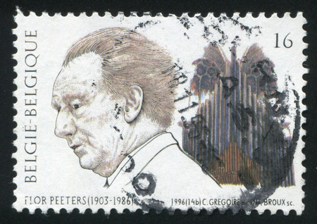 flor: RUSSIA KALININGRAD, 26 OCTOBER 2015: stamp printed by Belgium, shows Flor Peeters, organis, circa 1996