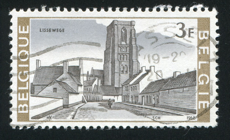 window seal: RUSSIA KALININGRAD, 26 OCTOBER 2015: stamp printed by Belgium, shows Gothic Church, Lisseweghe, circa 1968