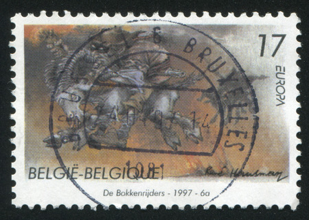 legends: RUSSIA KALININGRAD, 26 OCTOBER 2015: stamp printed by Belgium, shows Stories and Legends, The Goat Riders, circa 1997
