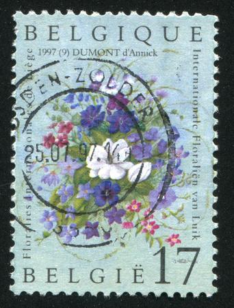 liege: RUSSIA KALININGRAD, 26 OCTOBER 2015: stamp printed by Belgium, shows Flower Show, Liege, circa 1997