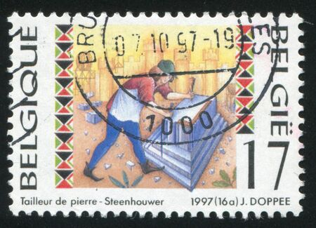stone cutter: RUSSIA KALININGRAD, 26 OCTOBER 2015: stamp printed by Belgium, shows Stone cutter, circa 1997