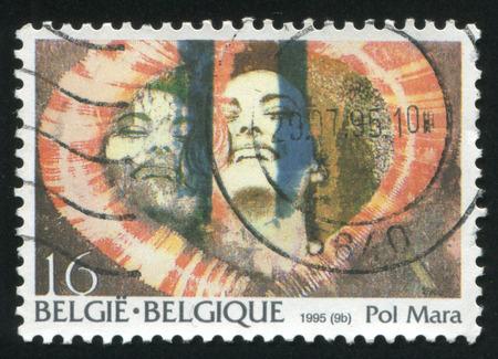 telegrama: Rusia Kaliningrado 26 de octubre de 2015: sello impreso por B�lgica, le ofrece el estilo telegrama, por Pol Mara, alrededor de 1995