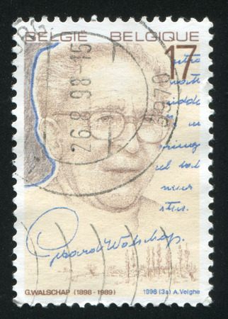playwright: RUSSIA KALININGRAD, 26 OCTOBER 2015: stamp printed by Belgium, shows Gerard Walschap, Poet, Playwright, circa 1998 Editorial